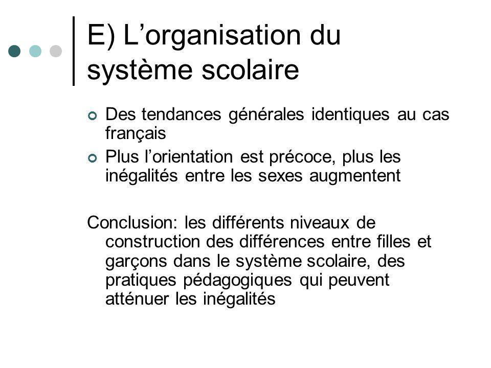 E) Lorganisation du système scolaire Des tendances générales identiques au cas français Plus lorientation est précoce, plus les inégalités entre les s