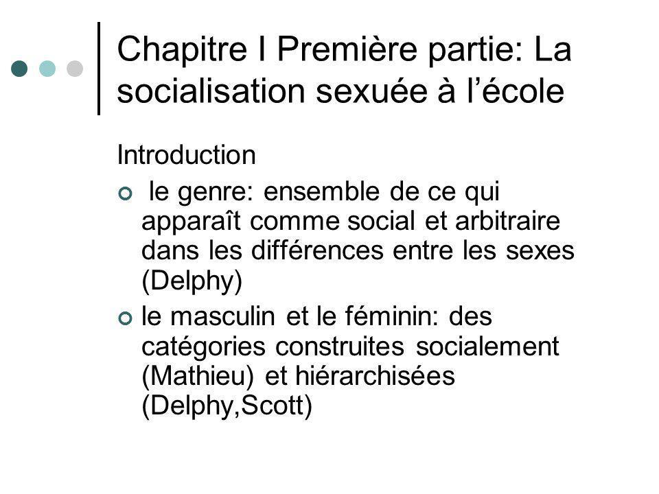 Chapitre I Première partie: La socialisation sexuée à lécole Introduction le genre: ensemble de ce qui apparaît comme social et arbitraire dans les di