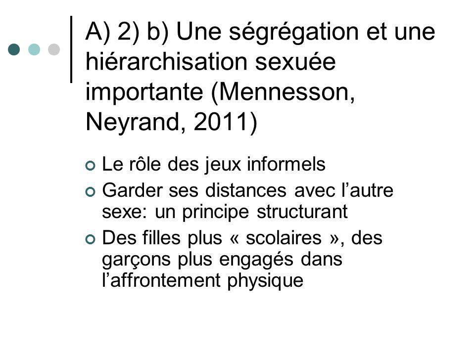 A) 2) b) Une ségrégation et une hiérarchisation sexuée importante (Mennesson, Neyrand, 2011) Le rôle des jeux informels Garder ses distances avec laut