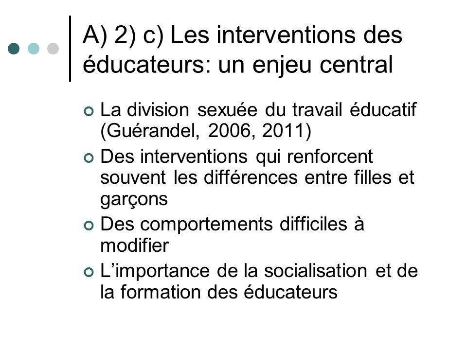 A) 2) c) Les interventions des éducateurs: un enjeu central La division sexuée du travail éducatif (Guérandel, 2006, 2011) Des interventions qui renfo