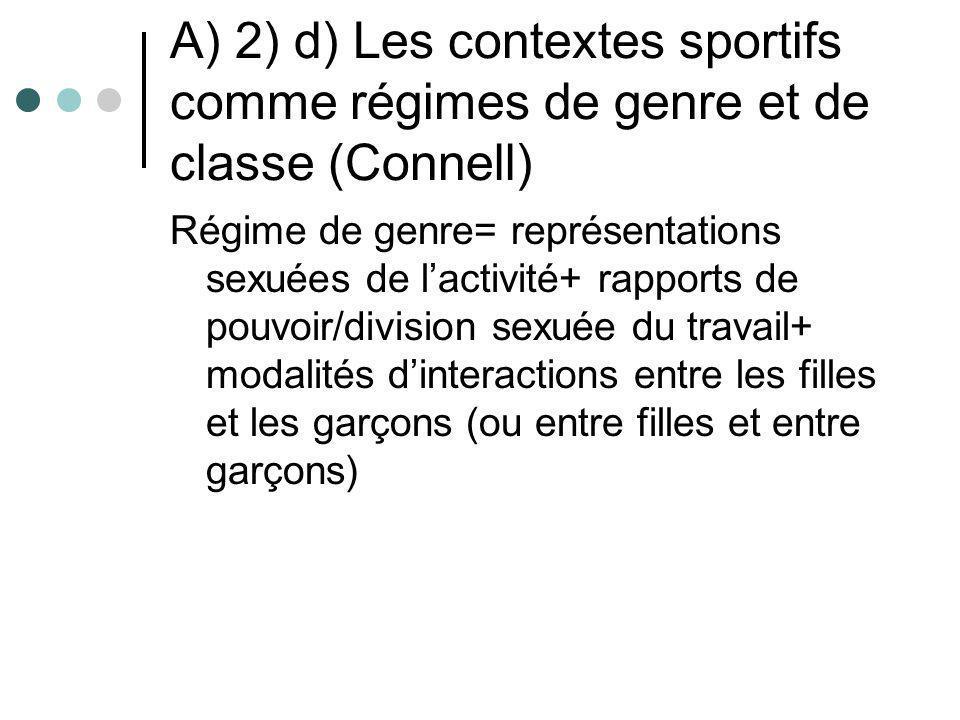 A) 2) d) Les contextes sportifs comme régimes de genre et de classe (Connell) Régime de genre= représentations sexuées de lactivité+ rapports de pouvo