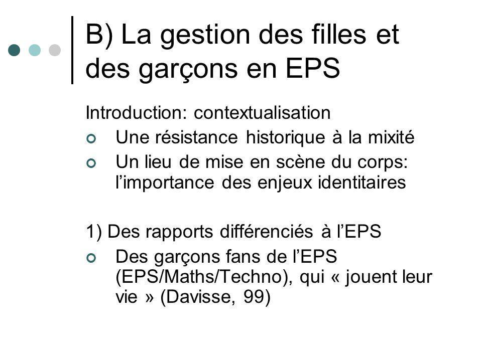 B) La gestion des filles et des garçons en EPS Introduction: contextualisation Une résistance historique à la mixité Un lieu de mise en scène du corps