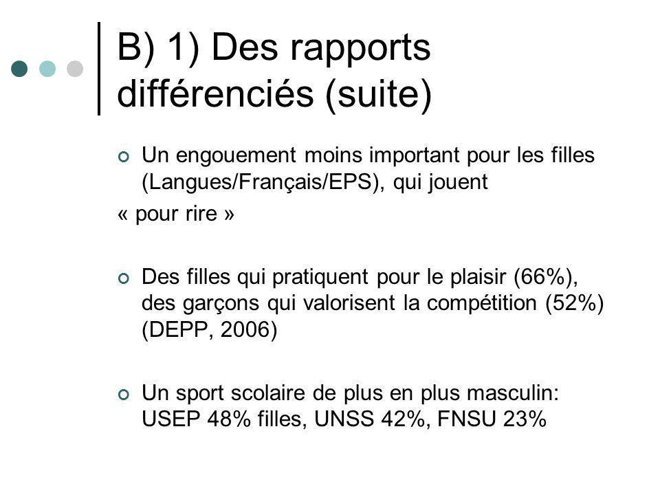 B) 1) Des rapports différenciés (suite) Un engouement moins important pour les filles (Langues/Français/EPS), qui jouent « pour rire » Des filles qui