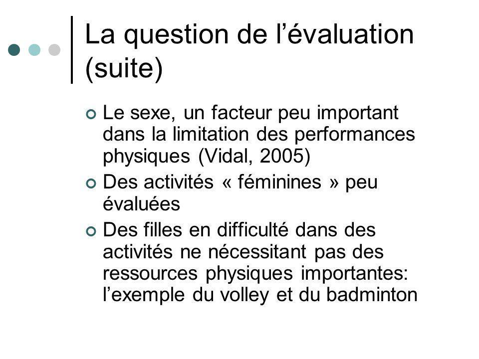 La question de lévaluation (suite) Le sexe, un facteur peu important dans la limitation des performances physiques (Vidal, 2005) Des activités « fémin