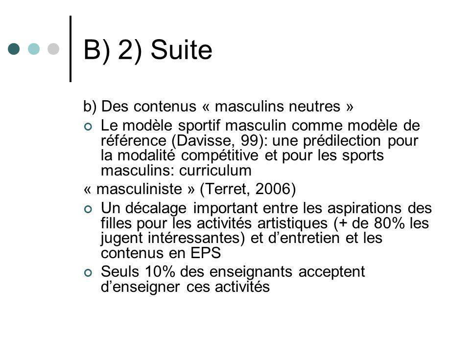 B) 2) Suite b) Des contenus « masculins neutres » Le modèle sportif masculin comme modèle de référence (Davisse, 99): une prédilection pour la modalit