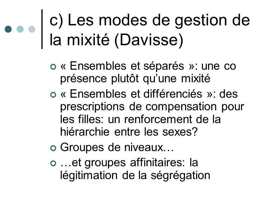 c) Les modes de gestion de la mixité (Davisse) « Ensembles et séparés »: une co présence plutôt quune mixité « Ensembles et différenciés »: des prescr