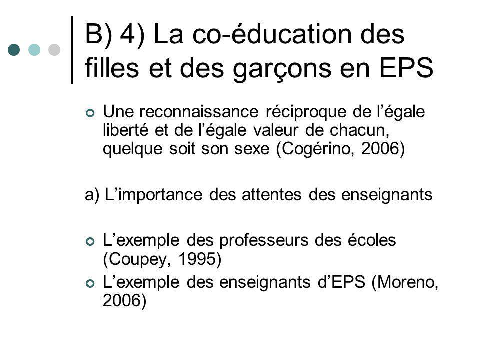 B) 4) La co-éducation des filles et des garçons en EPS Une reconnaissance réciproque de légale liberté et de légale valeur de chacun, quelque soit son