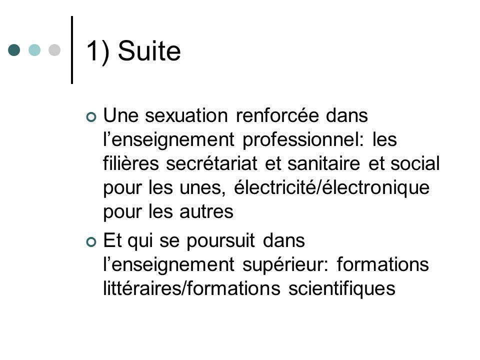 1) Suite Une sexuation renforcée dans lenseignement professionnel: les filières secrétariat et sanitaire et social pour les unes, électricité/électron