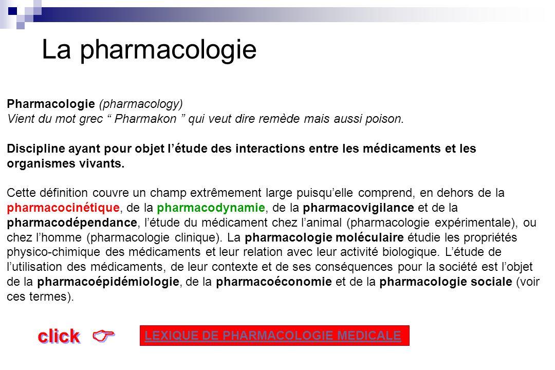 La pharmacologie Pharmacodynamie Action du médicament sur lorganisme Pharmacocinétique Action de lorganisme sur le médicament