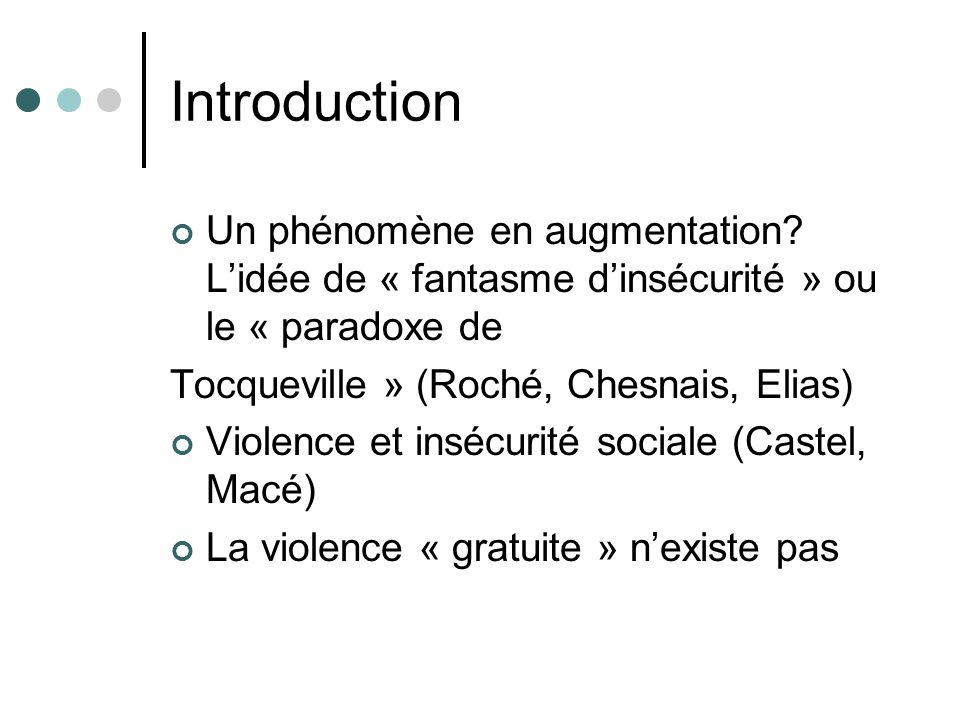 Introduction (suite) Les difficultés de fonctionnement du système scolaire sont néanmoins bien réelles: l importance des « incivilités » (Debarbieux) Un phénomène pluriel: Définition réductrice (Chesnais), extensive (Debarbieux), subjective (Pain, Dubet): la violence comme processus relationnel