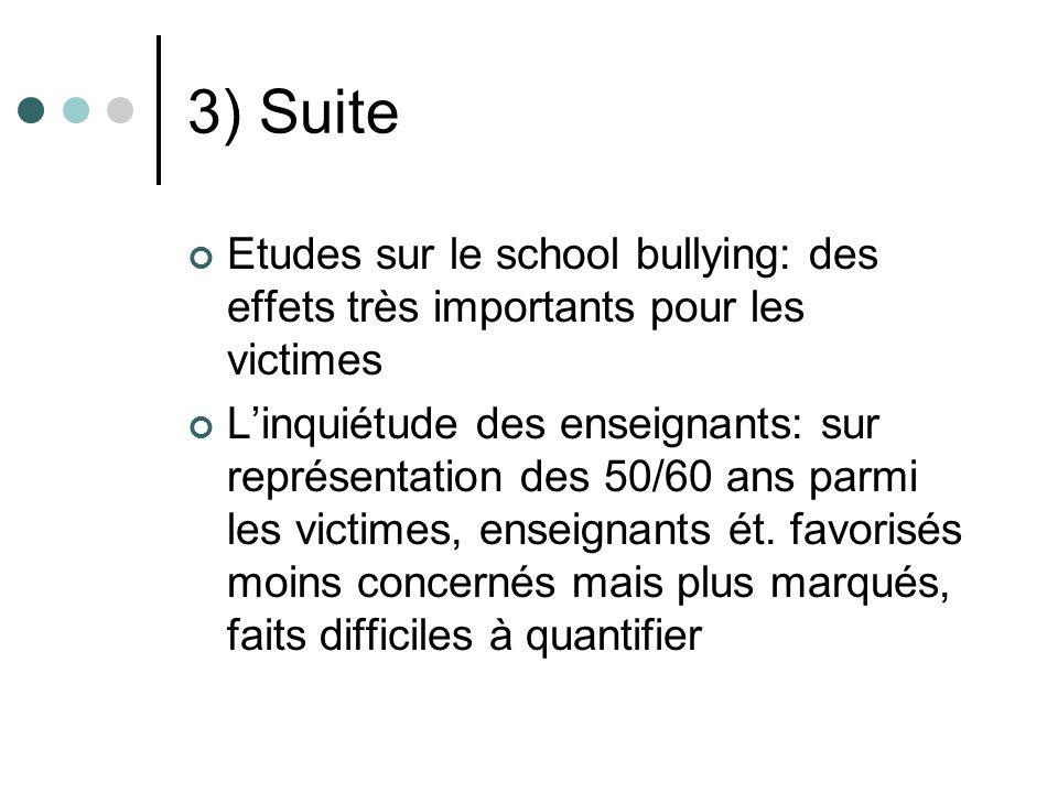 3) Suite Etudes sur le school bullying: des effets très importants pour les victimes Linquiétude des enseignants: sur représentation des 50/60 ans parmi les victimes, enseignants ét.