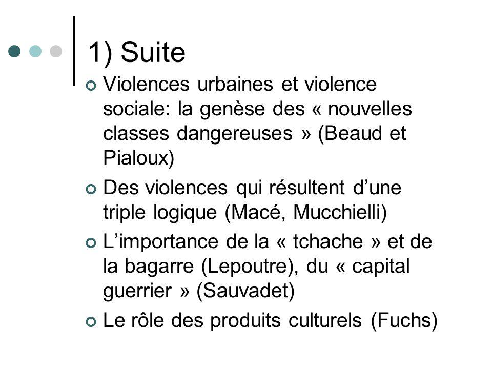 1) Suite Violences urbaines et violence sociale: la genèse des « nouvelles classes dangereuses » (Beaud et Pialoux) Des violences qui résultent dune triple logique (Macé, Mucchielli) Limportance de la « tchache » et de la bagarre (Lepoutre), du « capital guerrier » (Sauvadet) Le rôle des produits culturels (Fuchs)