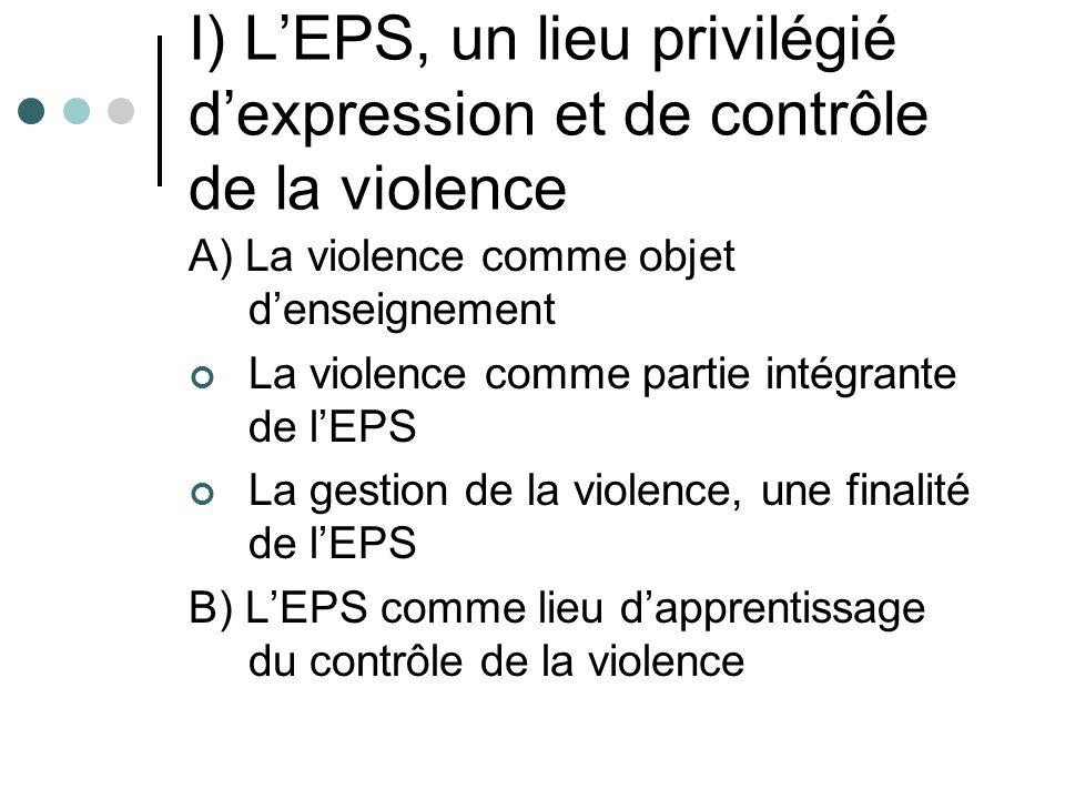 I) LEPS, un lieu privilégié dexpression et de contrôle de la violence A) La violence comme objet denseignement La violence comme partie intégrante de lEPS La gestion de la violence, une finalité de lEPS B) LEPS comme lieu dapprentissage du contrôle de la violence