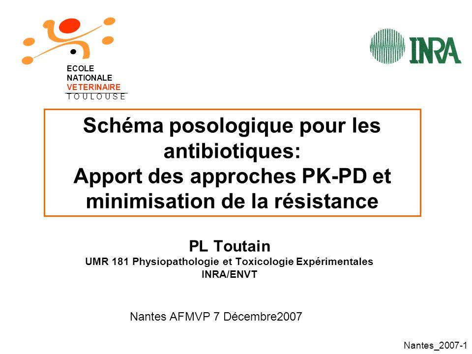 Nantes_2007-62 Sélection par la pénicilline de bactéries résistantes dans une culture mixte de S.pneumoniae C Éradication des S et de la sous-population I pour T>CMI de 38% de lintervalle pour I mais expansion des R