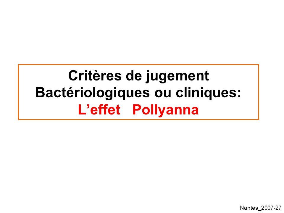 Nantes_2007-27 Critères de jugement Bactériologiques ou cliniques: Leffet Pollyanna