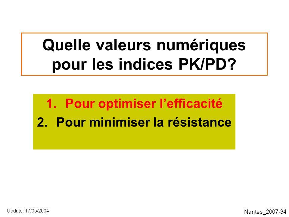 Nantes_2007-34 Quelle valeurs numériques pour les indices PK/PD.