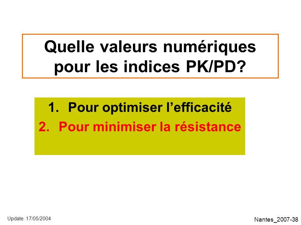 Nantes_2007-38 Quelle valeurs numériques pour les indices PK/PD.