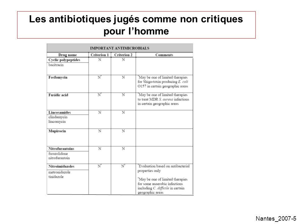 Nantes_2007-5 Les antibiotiques jugés comme non critiques pour lhomme