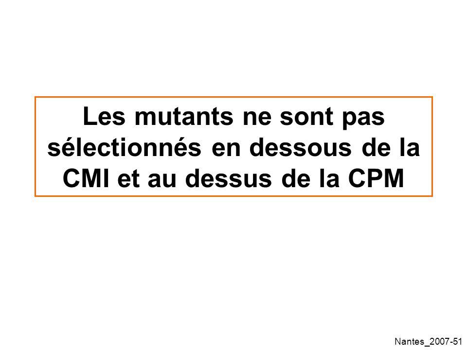 Nantes_2007-51 Les mutants ne sont pas sélectionnés en dessous de la CMI et au dessus de la CPM