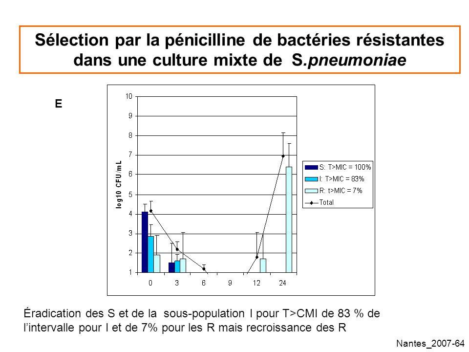 Nantes_2007-64 Sélection par la pénicilline de bactéries résistantes dans une culture mixte de S.pneumoniae E Éradication des S et de la sous-population I pour T>CMI de 83 % de lintervalle pour I et de 7% pour les R mais recroissance des R