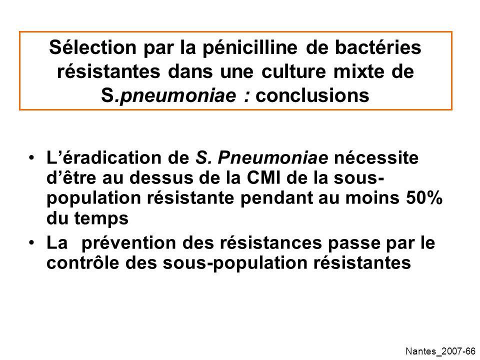 Nantes_2007-66 Sélection par la pénicilline de bactéries résistantes dans une culture mixte de S.pneumoniae : conclusions Léradication de S.