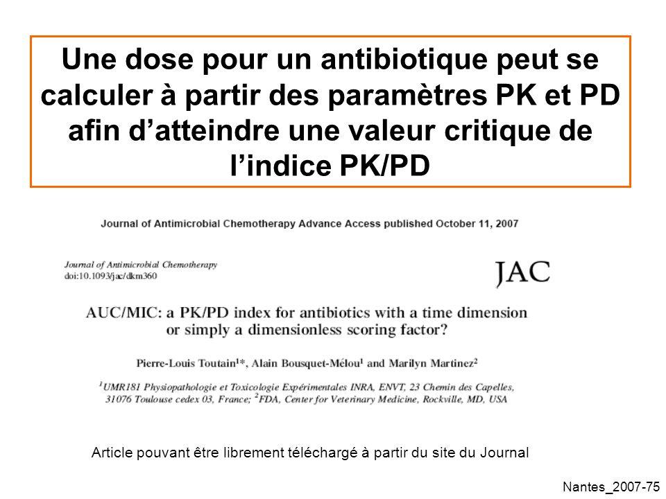 Nantes_2007-75 Une dose pour un antibiotique peut se calculer à partir des paramètres PK et PD afin datteindre une valeur critique de lindice PK/PD Article pouvant être librement téléchargé à partir du site du Journal