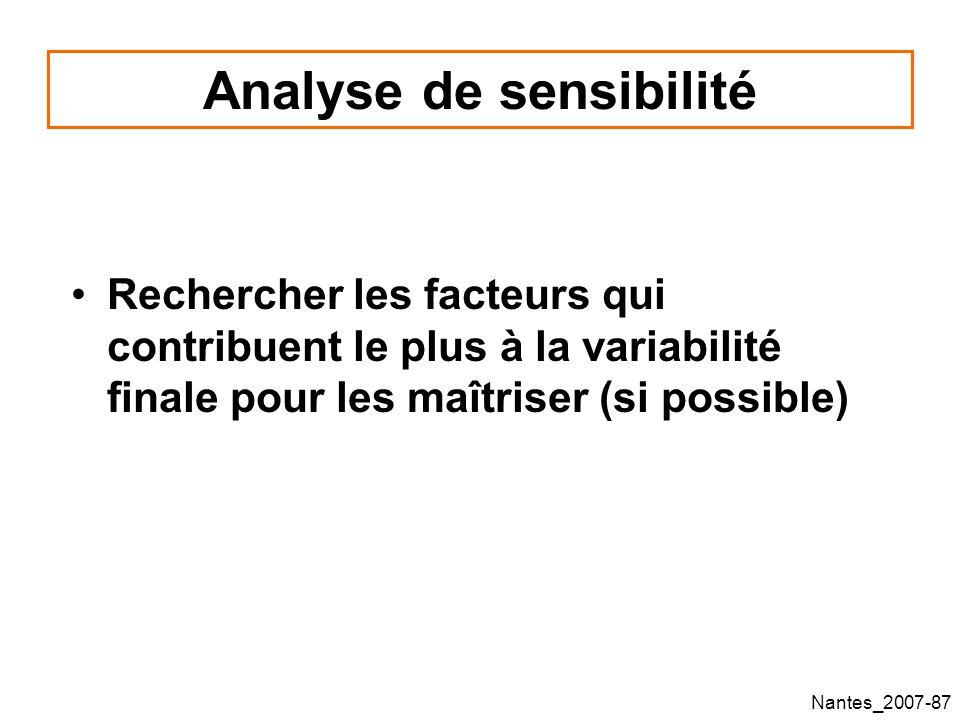Nantes_2007-87 Analyse de sensibilité Rechercher les facteurs qui contribuent le plus à la variabilité finale pour les maîtriser (si possible)