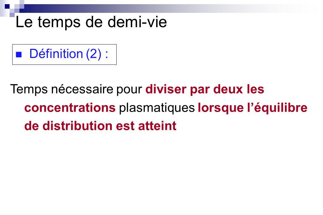 Temps nécessaire pour diviser par deux les concentrations plasmatiques lorsque léquilibre de distribution est atteint Le temps de demi-vie Définition