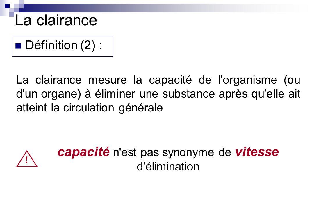La clairance mesure la capacité de l organisme (ou d un organe) à éliminer une substance après qu elle ait atteint la circulation générale La clairance Définition (2) : .