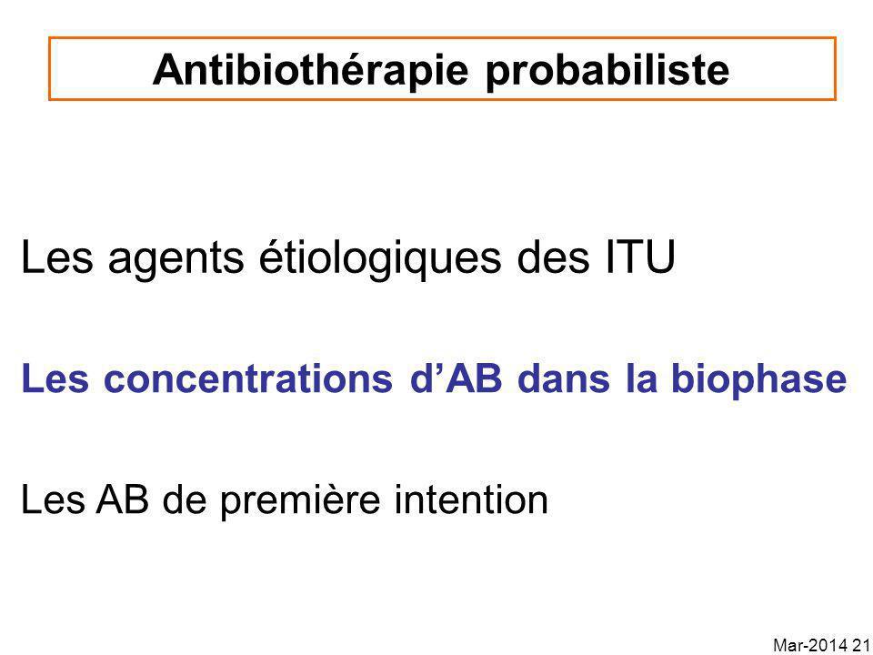 Les agents étiologiques des ITU Antibiothérapie probabiliste Les concentrations dAB dans la biophase Les AB de première intention Mar-2014 21