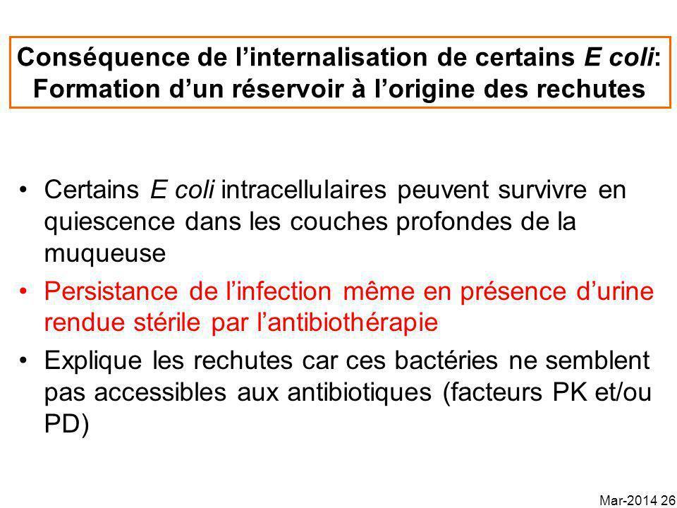 Conséquence de linternalisation de certains E coli: Formation dun réservoir à lorigine des rechutes Certains E coli intracellulaires peuvent survivre en quiescence dans les couches profondes de la muqueuse Persistance de linfection même en présence durine rendue stérile par lantibiothérapie Explique les rechutes car ces bactéries ne semblent pas accessibles aux antibiotiques (facteurs PK et/ou PD) Mar-2014 26