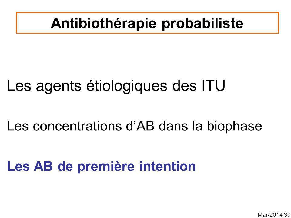 Les agents étiologiques des ITU Antibiothérapie probabiliste Les concentrations dAB dans la biophase Les AB de première intention Mar-2014 30