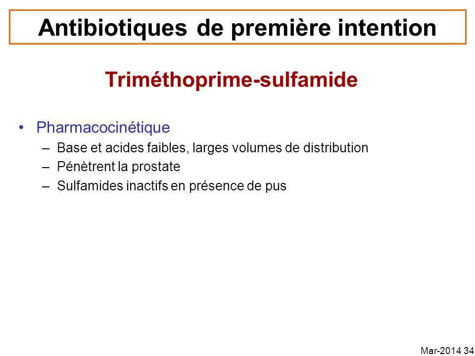 Antibiotiques de première intention Pharmacocinétique –Base et acides faibles, larges volumes de distribution –Pénètrent la prostate –Sulfamides inactifs en présence de pus Triméthoprime-sulfamide Mar-2014 34