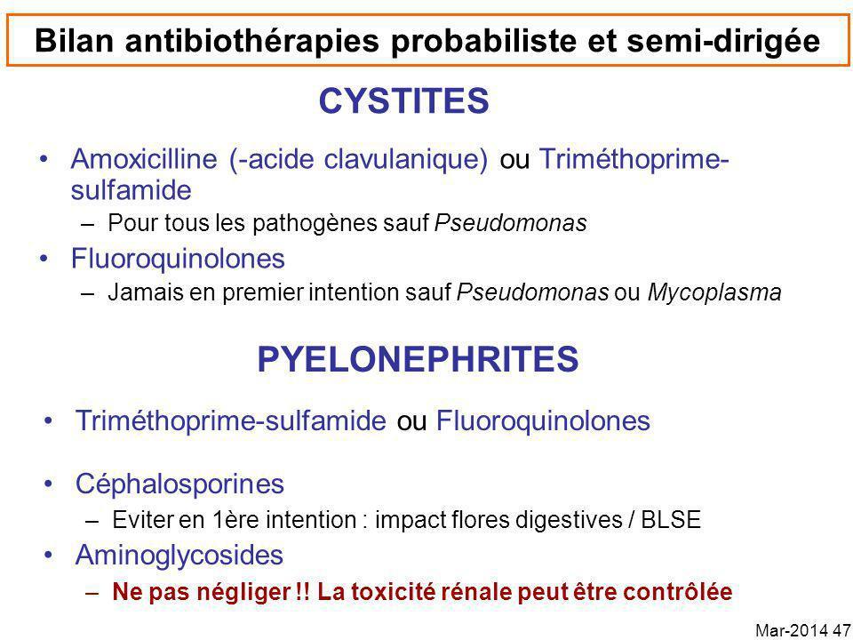 Bilan antibiothérapies probabiliste et semi-dirigée Amoxicilline (-acide clavulanique) ou Triméthoprime- sulfamide –Pour tous les pathogènes sauf Pseudomonas Fluoroquinolones –Jamais en premier intention sauf Pseudomonas ou Mycoplasma CYSTITES Triméthoprime-sulfamide ou Fluoroquinolones Céphalosporines –Eviter en 1ère intention : impact flores digestives / BLSE Aminoglycosides –Ne pas négliger !.