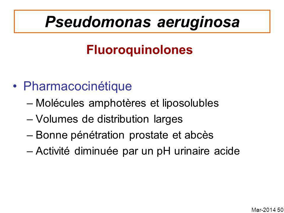 Pseudomonas aeruginosa Fluoroquinolones Pharmacocinétique –Molécules amphotères et liposolubles –Volumes de distribution larges –Bonne pénétration prostate et abcès –Activité diminuée par un pH urinaire acide Mar-2014 50