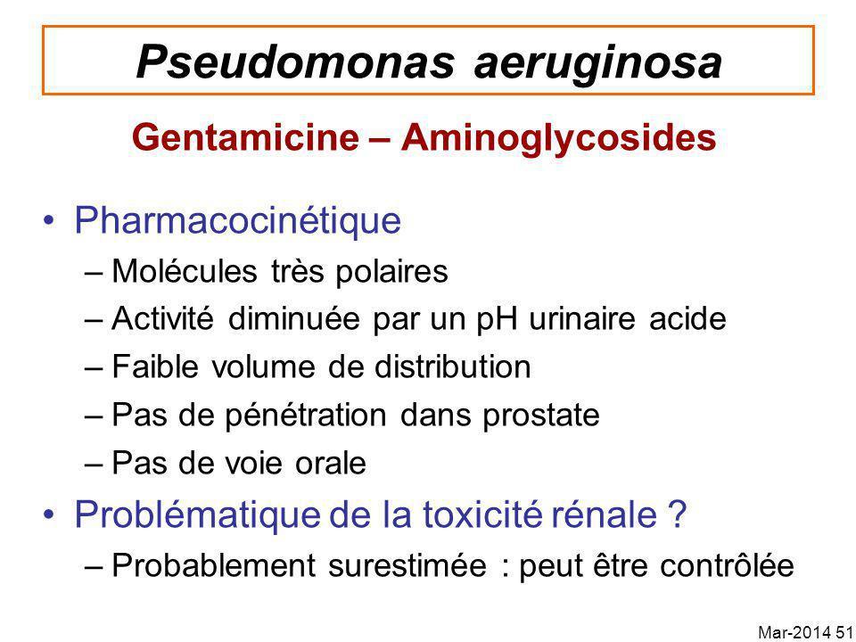 Pseudomonas aeruginosa Gentamicine – Aminoglycosides Pharmacocinétique –Molécules très polaires –Activité diminuée par un pH urinaire acide –Faible volume de distribution –Pas de pénétration dans prostate –Pas de voie orale Problématique de la toxicité rénale .
