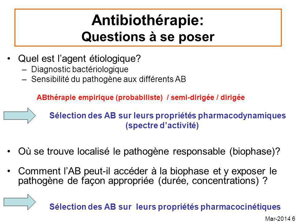 Antibiothérapie semi-dirigée Antibiothérapie avec connaissance de la nature du pathogène impliqué En attendant les résultats de luroculture –Examen cytobactériologique des urines : bâtonnet ou cocci –pH urinaire Permet une première sélection Mar-2014 37