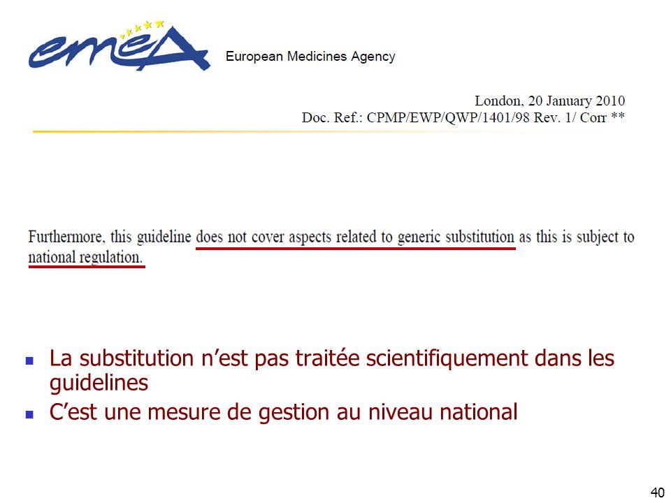 40 La substitution nest pas traitée scientifiquement dans les guidelines Cest une mesure de gestion au niveau national