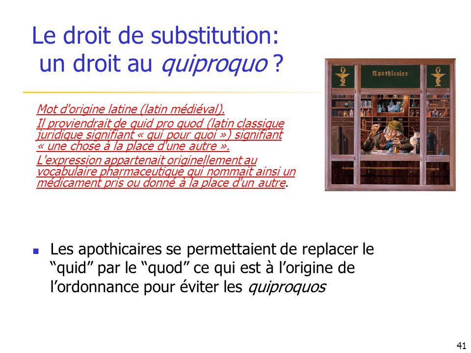 Le droit de substitution: un droit au quiproquo ? Mot d'origine latine (latin médiéval). Il proviendrait de quid pro quod (latin classique juridique s