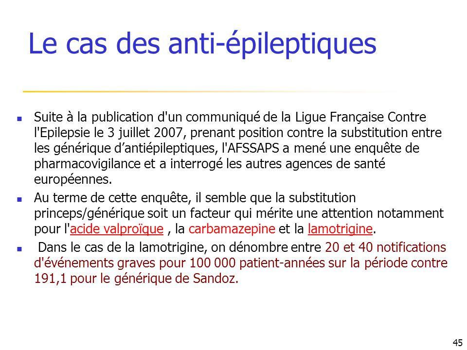 Suite à la publication d'un communiqué de la Ligue Française Contre l'Epilepsie le 3 juillet 2007, prenant position contre la substitution entre les g