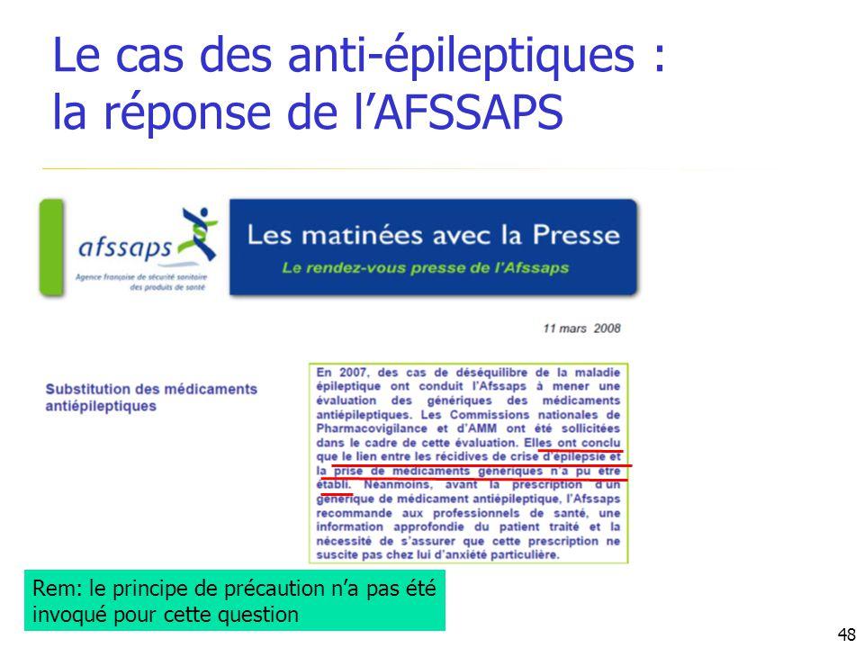 Rem: le principe de précaution na pas été invoqué pour cette question Le cas des anti-épileptiques : la réponse de lAFSSAPS 48