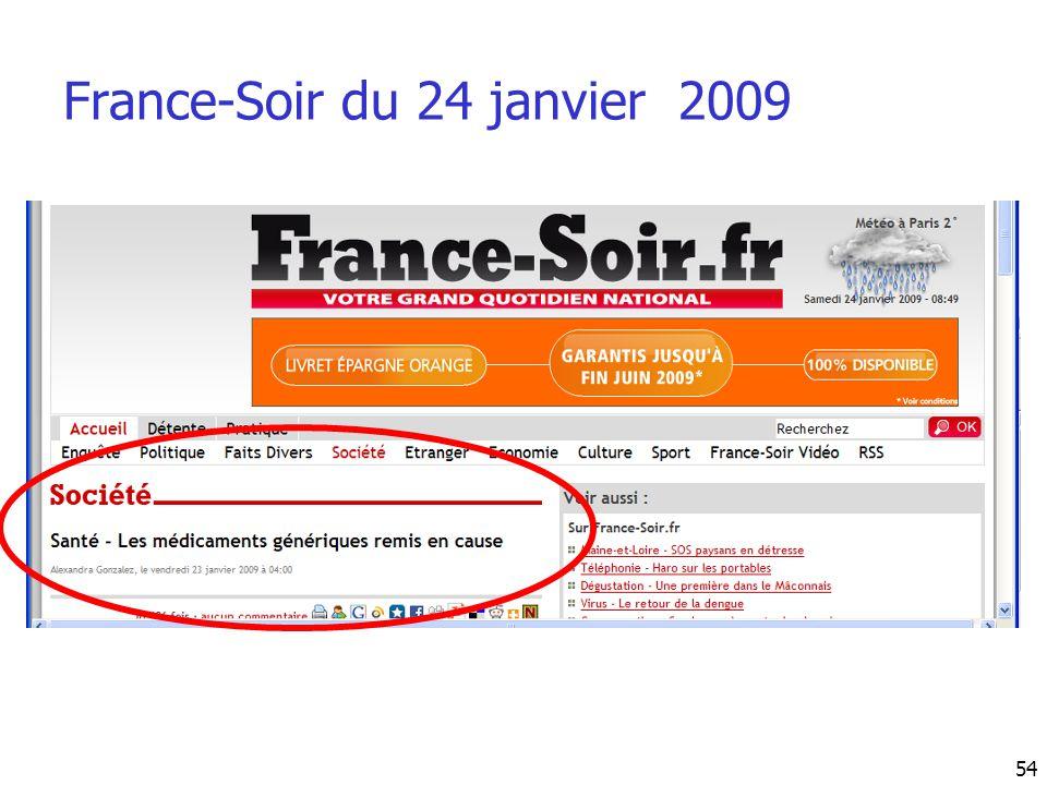 France-Soir du 24 janvier 2009 54
