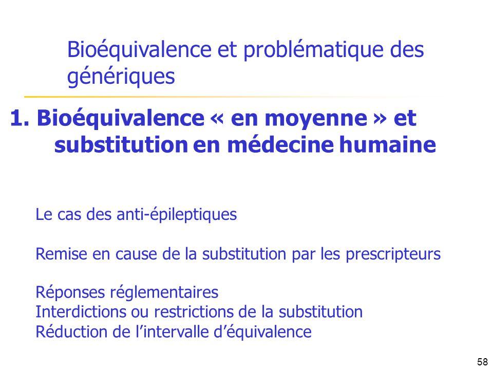 Bioéquivalence et problématique des génériques 1. Bioéquivalence « en moyenne » et substitution en médecine humaine Le cas des anti-épileptiques Remis