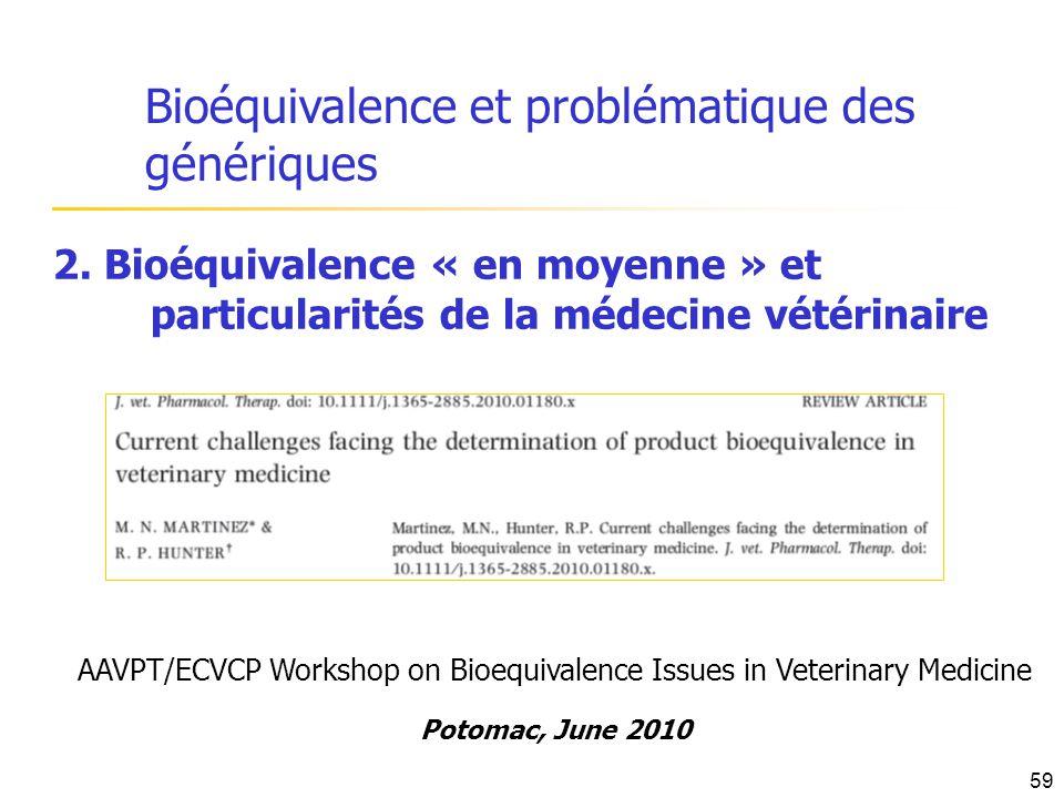 Bioéquivalence et problématique des génériques 2. Bioéquivalence « en moyenne » et particularités de la médecine vétérinaire AAVPT/ECVCP Workshop on B