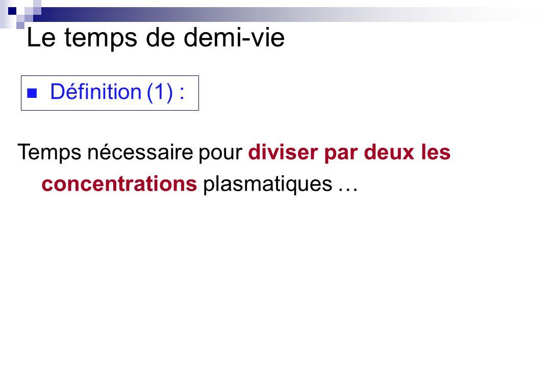 Définition (1) : Temps nécessaire pour diviser par deux les concentrations plasmatiques … Le temps de demi-vie