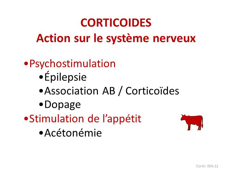 Cortic 00A.12 Psychostimulation Épilepsie Association AB / Corticoïdes Dopage Stimulation de lappétit Acétonémie CORTICOIDES Action sur le système ner