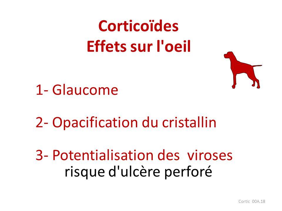 Cortic 00A.18 1- Glaucome 2- Opacification du cristallin 3- Potentialisation des viroses risque d'ulcère perforé Corticoïdes Effets sur l'oeil