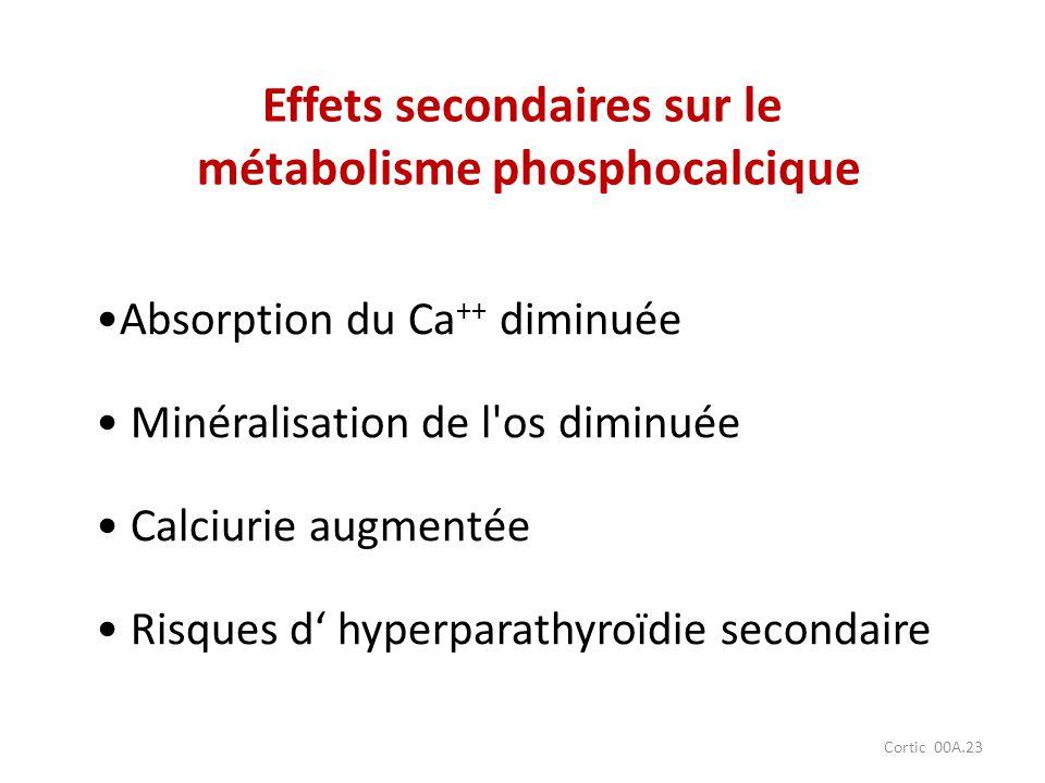 Cortic 00A.23 Absorption du Ca ++ diminuée Minéralisation de l'os diminuée Calciurie augmentée Risques d hyperparathyroïdie secondaire Effets secondai
