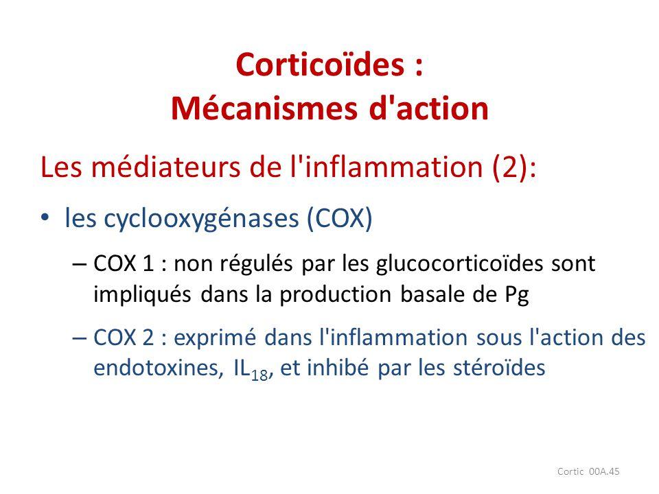 Cortic 00A.45 Les médiateurs de l'inflammation (2): les cyclooxygénases (COX) – COX 1 : non régulés par les glucocorticoïdes sont impliqués dans la pr