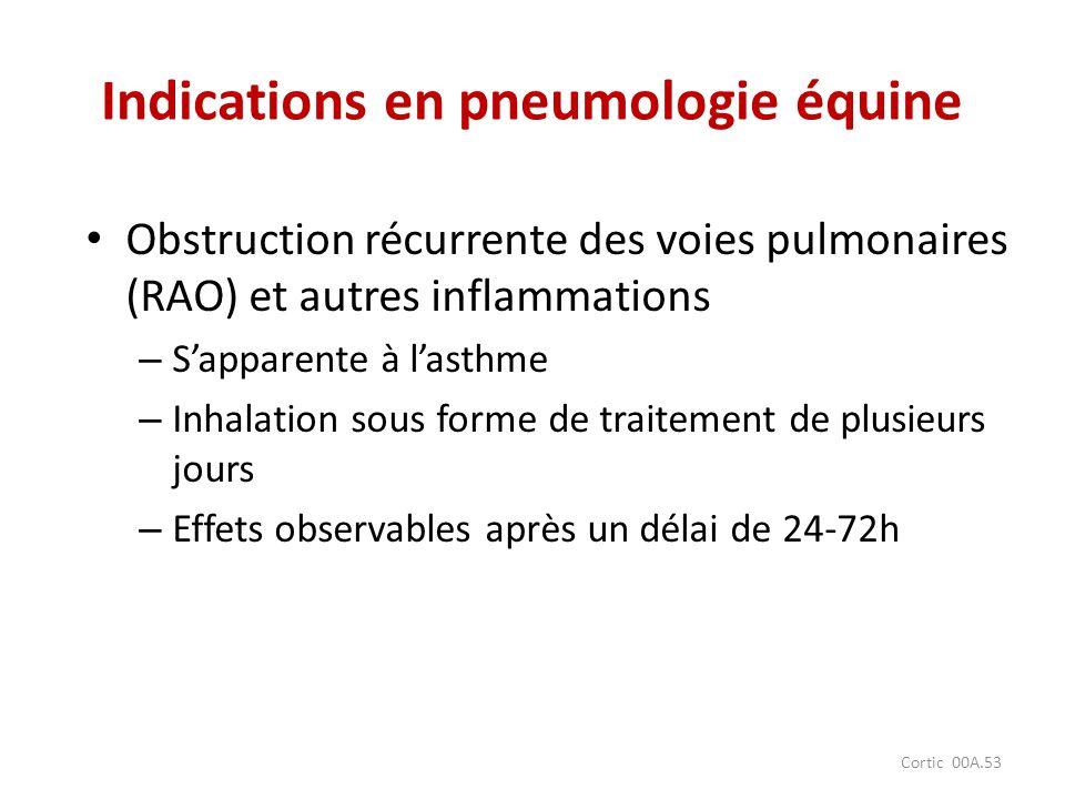 Cortic 00A.53 Indications en pneumologie équine Obstruction récurrente des voies pulmonaires (RAO) et autres inflammations – Sapparente à lasthme – In